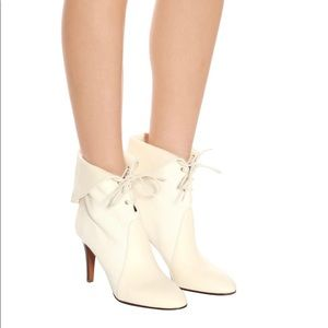 Chloé Kole lace up leather/canvas boots